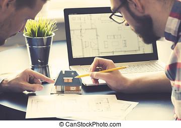 cliente, oficina, familia , casa, actuación, arquitecto, nuevo modelo