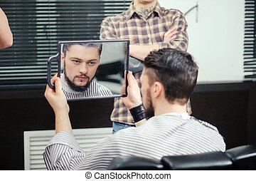 cliente, olha, espelho