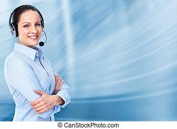 cliente, operador, woman., centro de la llamada