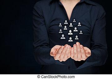 cliente, ou, empregados, cuidado, conceito