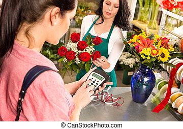 cliente, pagar, mulher, loja, crédito, flores, cartão