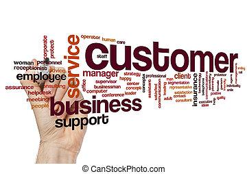 cliente, palavra, nuvem, conceito