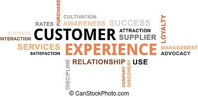 cliente, palavra, -, nuvem, experiência