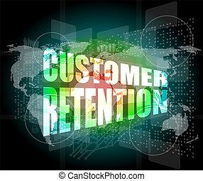 cliente, parola, affari, schermo, digitale, ritenzione