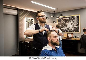 cliente, pelo, cardadura, peluquero
