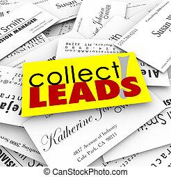 cliente, perspectivas, empresa / negocio, plomos, recoger, ...