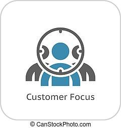 cliente, plano, icon., foco, design.