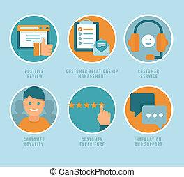cliente, plano, vector, experiencia, conceptos