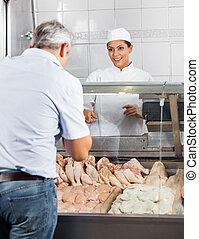 cliente, pollo, vendita, carne, macellaio