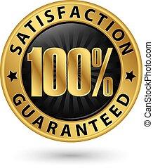 cliente, porcentaje, vector, guaranteed, señal, cinta, dorado, ilustración, satisfacción, 100