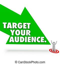 cliente, prospettiva, bersaglio, indicare, pubblico, freccia, parole, tuo