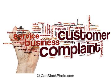 cliente, queixa, palavra, nuvem, conceito