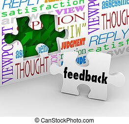 cliente, reacción, servicio, pared, rompecabezas, encuesta,...