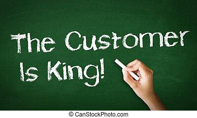cliente, rei, giz, ilustração