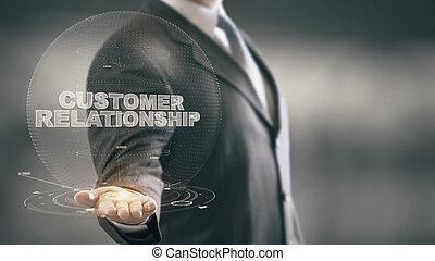 cliente, relacionamento, passe segurar, homem negócios, novo, tecnologias