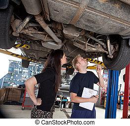 cliente, reparaciones, actuación, mecánico