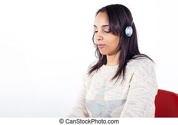 cliente, representante, menina, com, headset