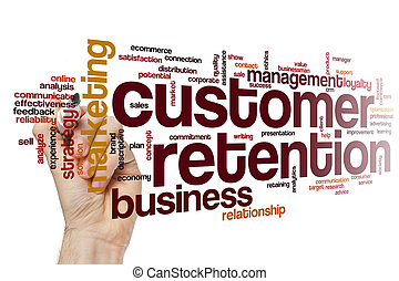 cliente, retenção, palavra, nuvem, conceito