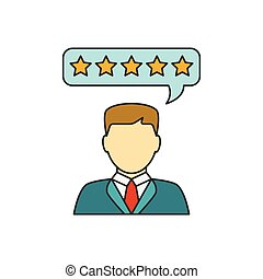 cliente, revisões, linha, ícone
