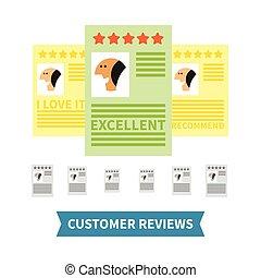 cliente, revisões, vetorial, conceito, em, apartamento, estilo