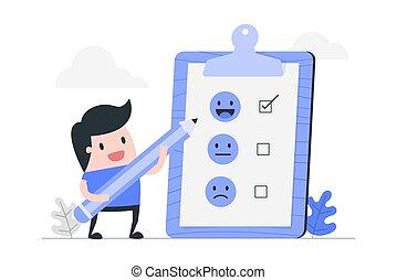 cliente, revisione, evaluation.