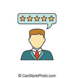 cliente, revisiones, línea, icono