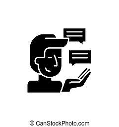 cliente, ricerca, nero, icona, vettore, segno, su, isolato, fondo., cliente, ricerca, concetto, simbolo, illustrazione