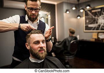 cliente, salone, taglio, capelli, detenere, contento