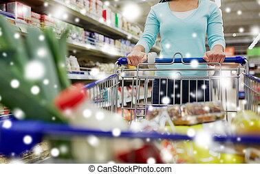cliente, shopping alimento, supermercato, carrello