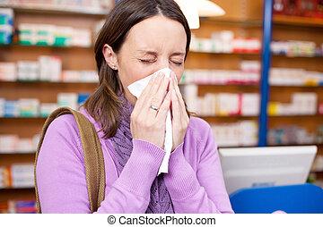 cliente, sofrimento, gelado, femininas, farmácia