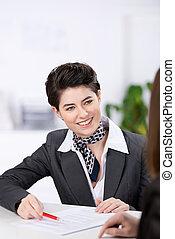 cliente, sonriente, supervisor, relaciones
