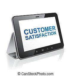 cliente, tableta, texto, satisfacción, computadora,...