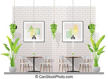 cliente, tavoli, ristorante, sedie, moderno, scena, 2, interno