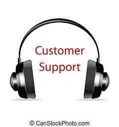 cliente, testo, sostegno, cuffia