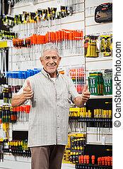 cliente, tienda, arriba, hardware, pulgares, el gesticular
