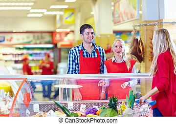 cliente, tienda de comestibles, cortés, sirve, alameda,...