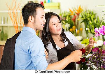 cliente, tienda, flor, vendedora