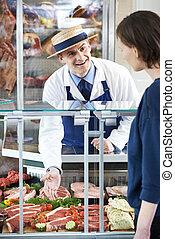 cliente, tienda, porción, carnicero