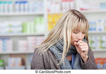 cliente, toser, hembra, farmacia