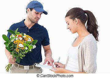 cliente, uomo, consegna, fiore, felice