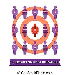 cliente, valor, optimization, vetorial, conceito, em, apartamento, estilo