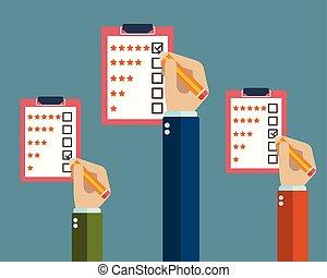 cliente, valutazione, illustration., servizio