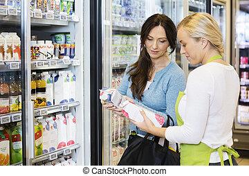 cliente, vendedora, Maduro, Paquetes, jugo, refriger,...