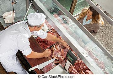 cliente, venta, carne, carnicero, gabinete, exhibición