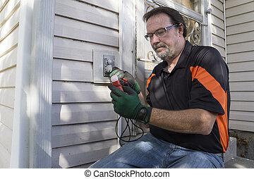 cliente, verificar, exterior, eletricista, saída