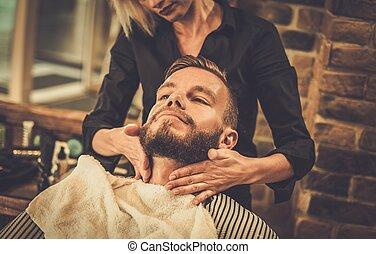 cliente, visitar, peluquero, hipster, tienda