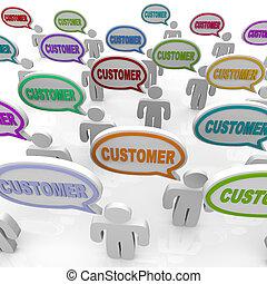 clientes, grupo, gente, -, grande, hablar
