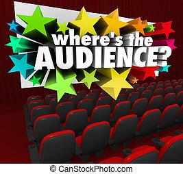 clientes, teatro, perdido, pantalla película, where's, audiencia