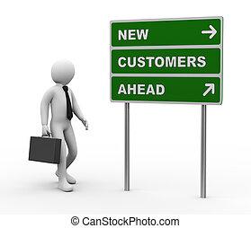 clienti, avanti, roadsign, nuovo, uomo affari, 3d
