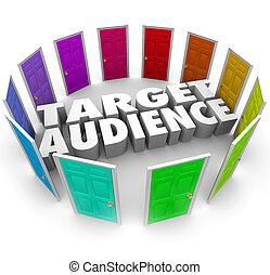 clienti, bersaglio, affari, lettori, crescere, pubblico, porte, tuo